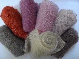 シルクモヘア手編みマフラー