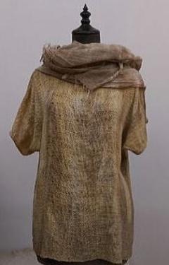 玉ねぎ皮染 綿手織りサマーセーター