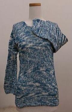 藍染 綿手編み七分袖セーター