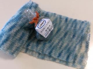 藍染め 段染め 編んでいくと模様になります