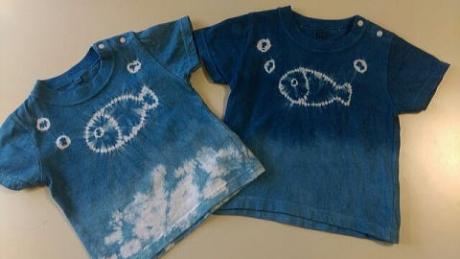 天然藍染 お魚Tシャツ
